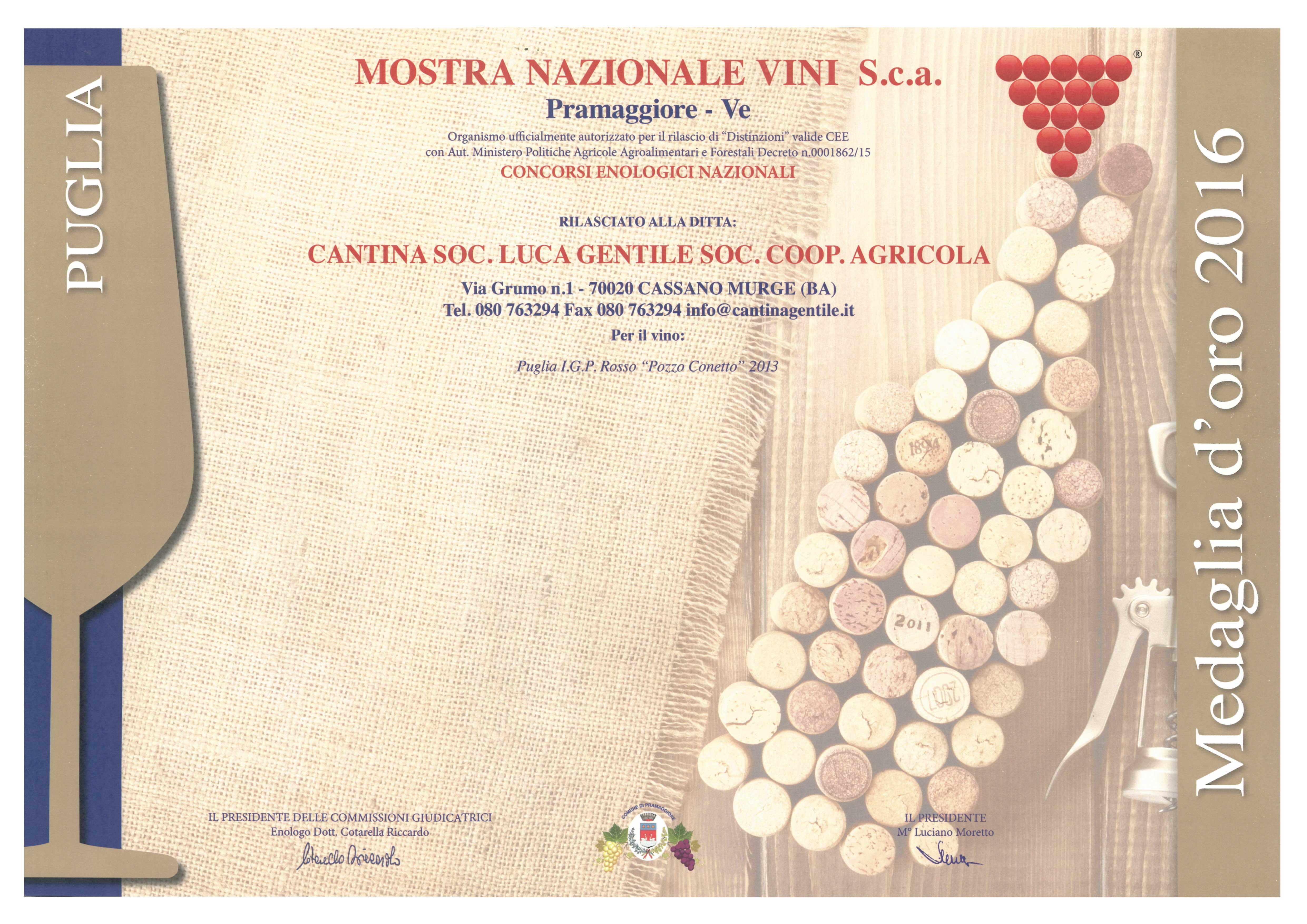 Premio vinto da Cantina Gentile
