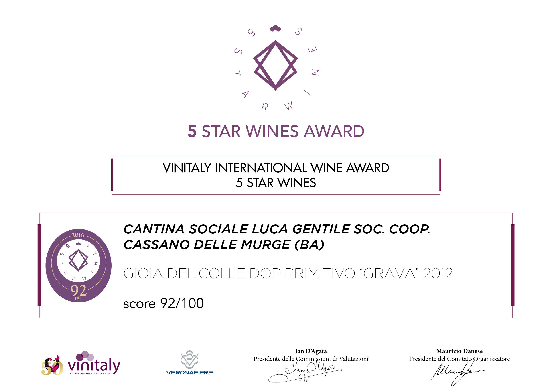 Vini premiati | Vinitaly 5 STAR WINES AWARD 2016 | Cantina Gentile