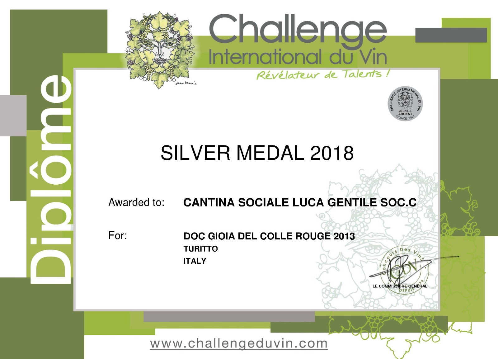 Silver Medal 2018 Cantina Gentile | Vino rosso Cantina Gentile